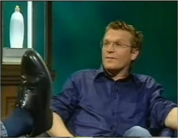 Fig 2: BBC Newsnight (1999) Conceptual Artist Brad Lochore (and Jeremy Paxman) confronted by Charles Thomson's shoe.